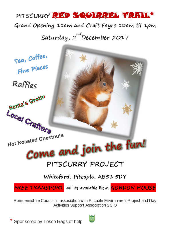 PEP & Pitscurry Red Squirrel Trail on Saturday 2nd December 2017 from 10am to 1pm